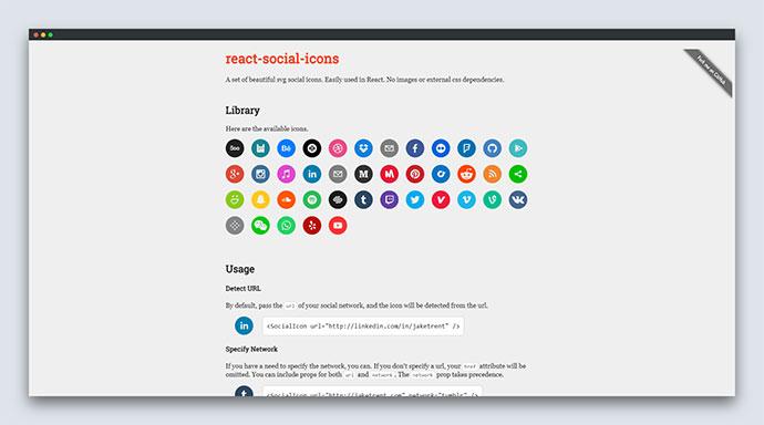React social icons