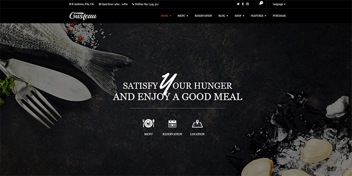 Gusteau – Elegant Food - Coffee and Restaurant WordPress Theme