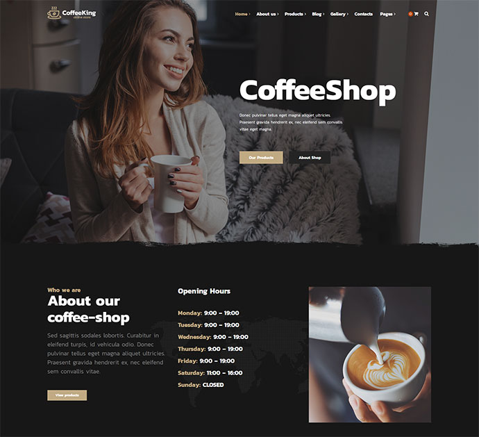 Coffee King - Coffee Shop, Coffee House and Online Store WordPress Theme