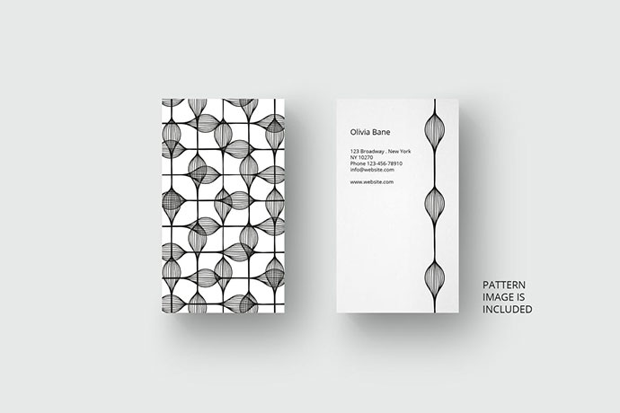 Business card template with black pattern