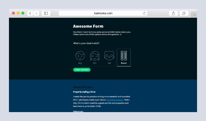Form with SVG radio buttons