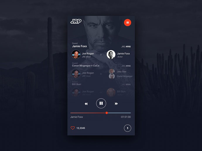 Joe Rogan Podcast UI