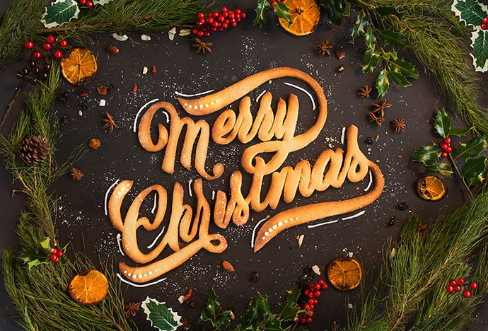 Merry Christmas Food Typography
