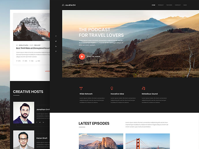 Online Radio or Podcast Website Landing Page