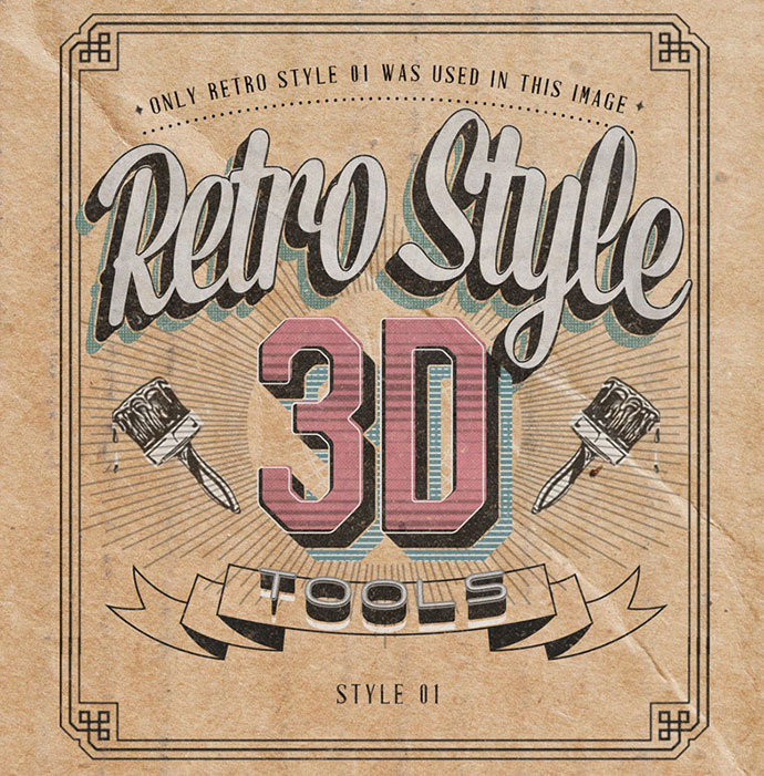 Retro Style 3D Tools - Photoshop Actions