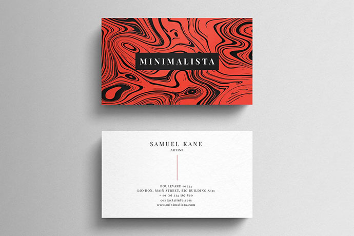 Simple business card on liquid background