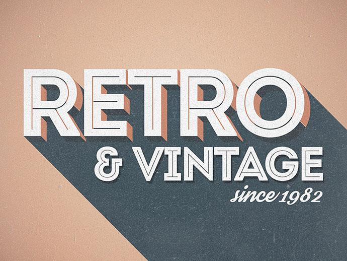 Various 3D Retro & Vintage Text Effects for Photoshop