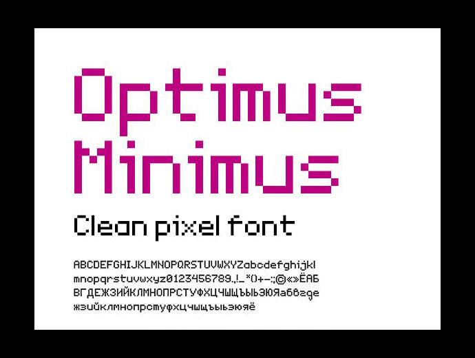 Optimus Miniums Clean Pixel Font