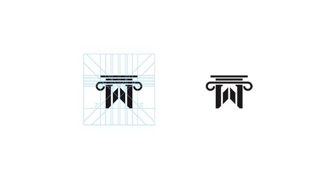 Letter W + Roman Pillar