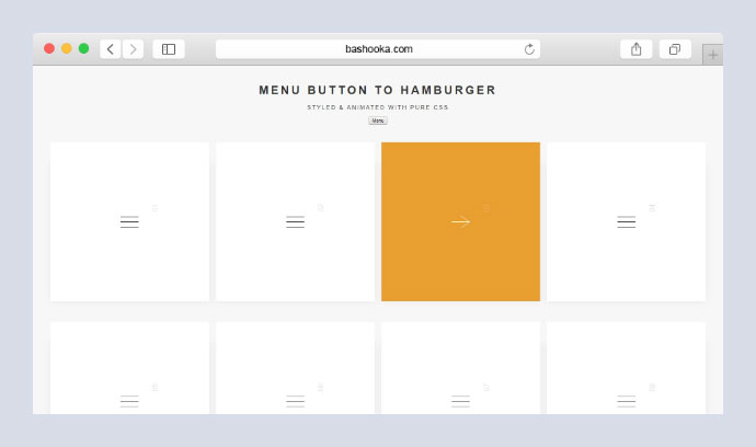Menu button to Hamburger - styled & animated with pure CSS