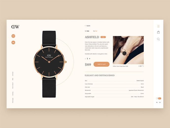 Daniel Wellington ecommerce redesign concept