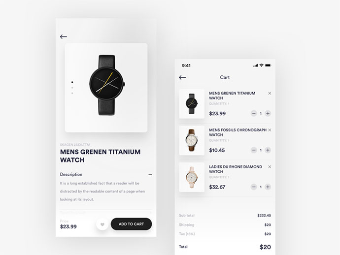 cart and Product details page