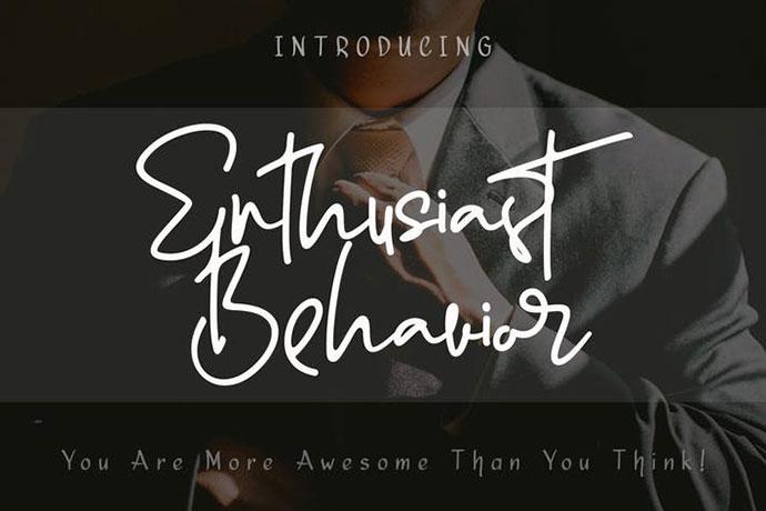 Enthusiast Behavior - Stylish Signature Font