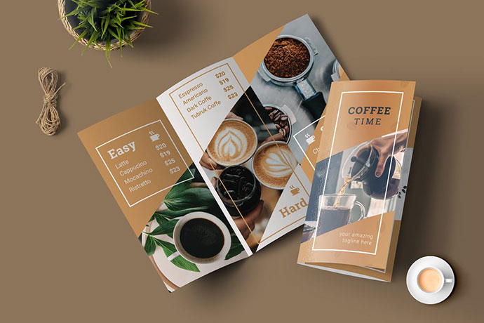 Brochure template for coffee shop | free psd file.