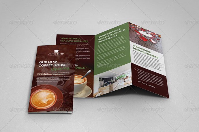 Coffee Shop Restaurant Trifold Brochure Template