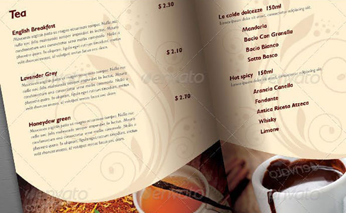 Coffee Shop/Restaurant Menu Brochure