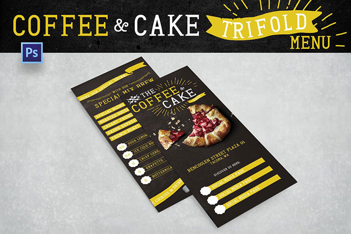 Blackboard Trifold Coffee Shop Menu