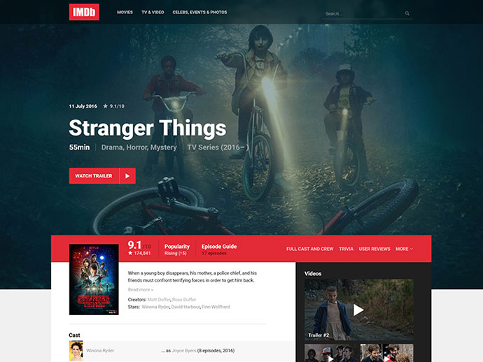 IMDb Movie/TV Page Redesign