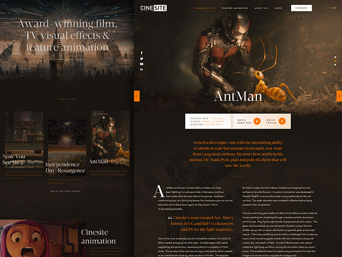 Cinesite website redesign