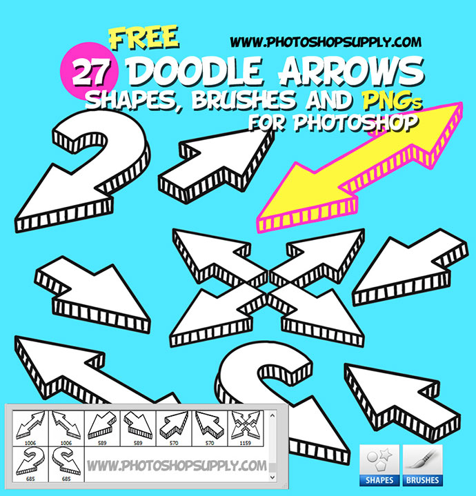 27 Doodle Arrow Photoshop Brushes Shapes and PNG