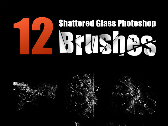 12 High Resolution Shattered Glass Photoshop Brushes