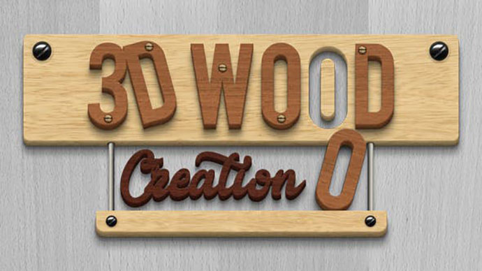 3D Wood Creation Mockup
