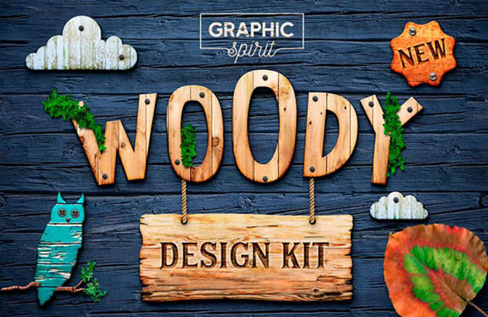 WOODY Texture Photoshop Styles KIT