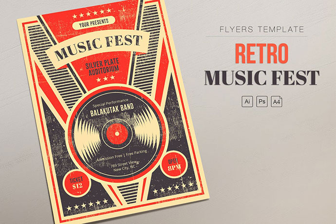 Retro Music Fest - Vinyl Flyers