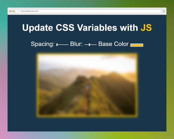 Updates CSS variables with ES6. Change the color of the text and picture frame as well as adjust the blur of the image.