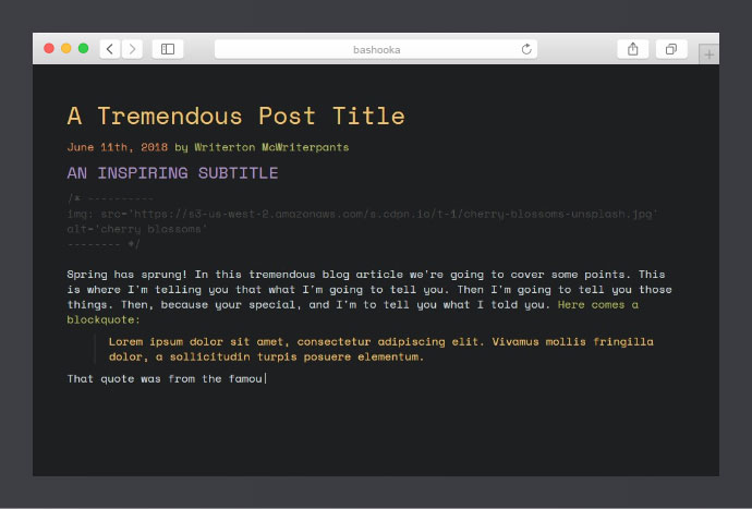Code-Typing a Blog Post
