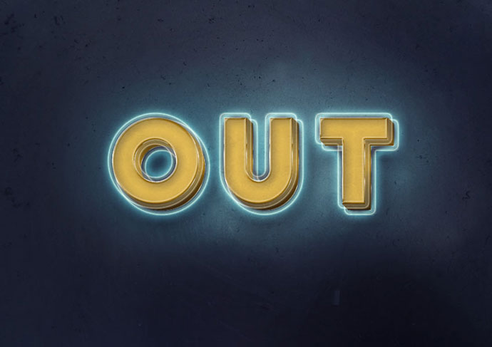 3D, Glowing, Retro Text Effect