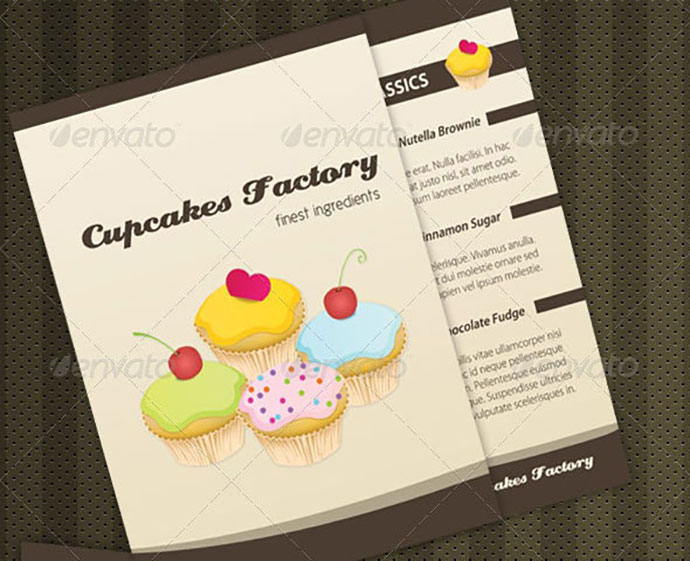 Cupcakes Bakery Menu Brochure + Cards