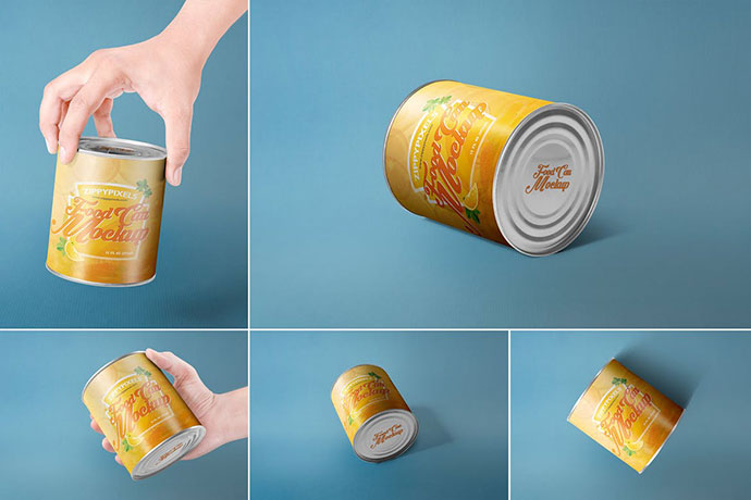 5 Can Packaging Mockups