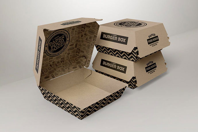 Burger Box Packaging Mockup