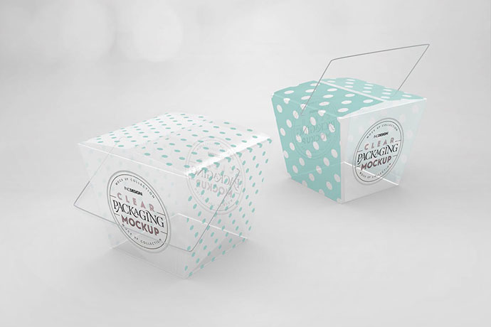 Clear Noodle Boxes Packaging Mockup