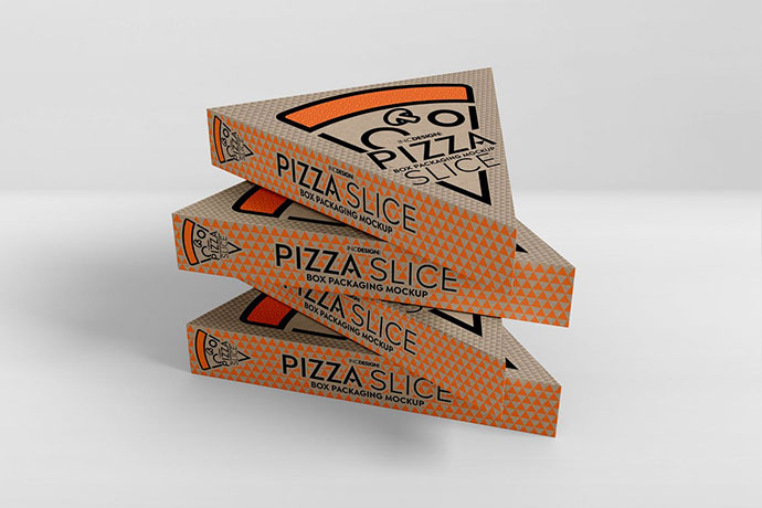Pizza Slice Box Packaging Mockup