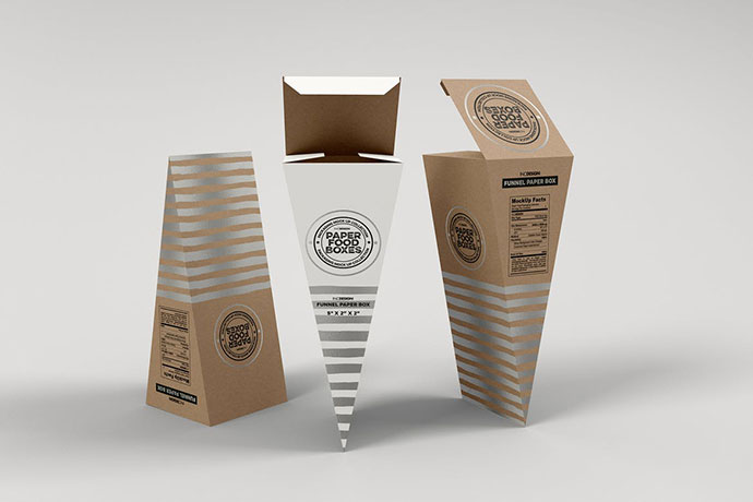 Funnel Paper Box Packaging Mockup