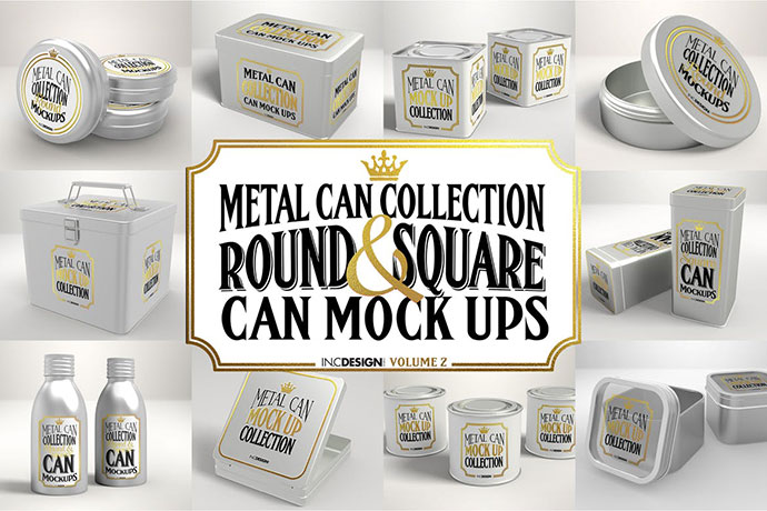 Vol. 2 Metal Can Mockup Collection
