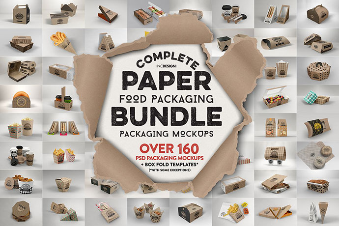 Paper Food Packaging Mockup Bundle
