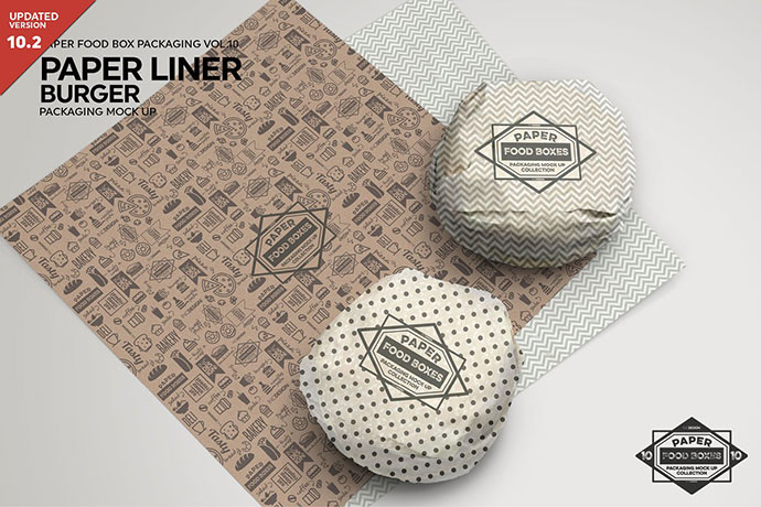 Burger Paper Liner Packaging Mockup