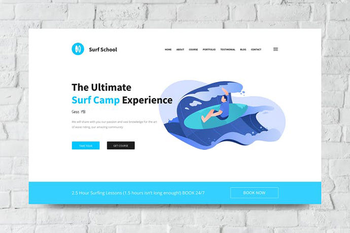 Surf School Web Header PSD and Vector Template