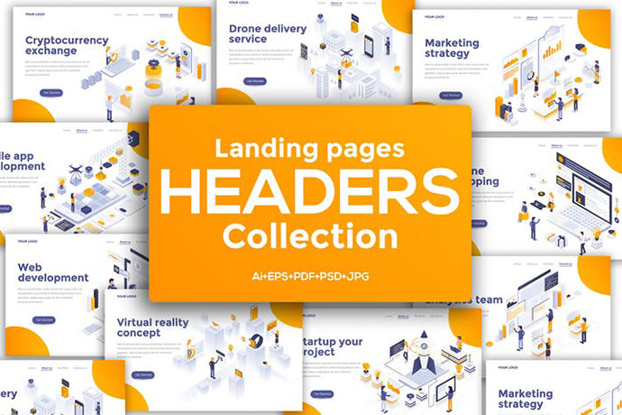 Landing page headers template on various topics