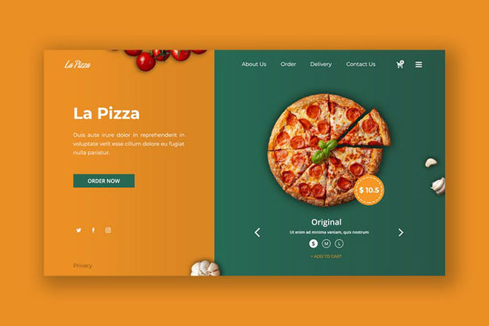 Delicious Pizza Hero Header PSD Template