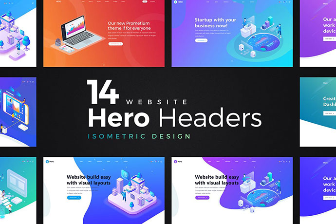 14 Isometric Hero Headers