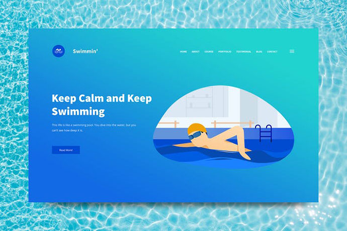Swimming Web Header PSD and Vector Template