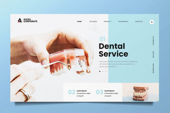 Dental Clinic Web Header PSD and AI Template