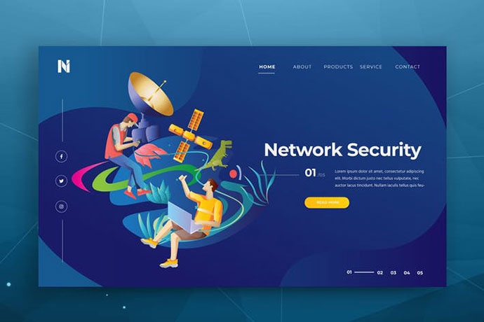 Network Security Web Header PSD and AI Template