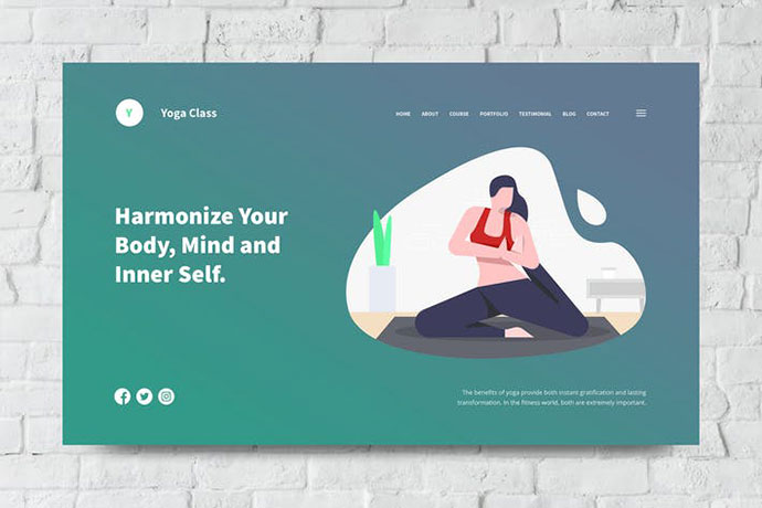 Yoga Web Header PSD and Vector Template