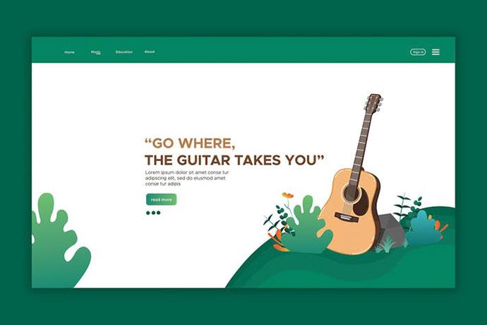 Guitar - Web Header & landing Page