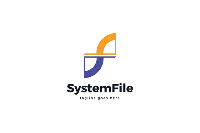 System File F Letter Logo Template